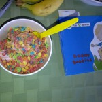 Fruity pebbles and chocolote frozen yogurt