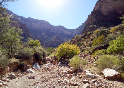 Bright Angel Trail passes through a wash