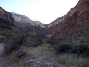 looking up to the south rim