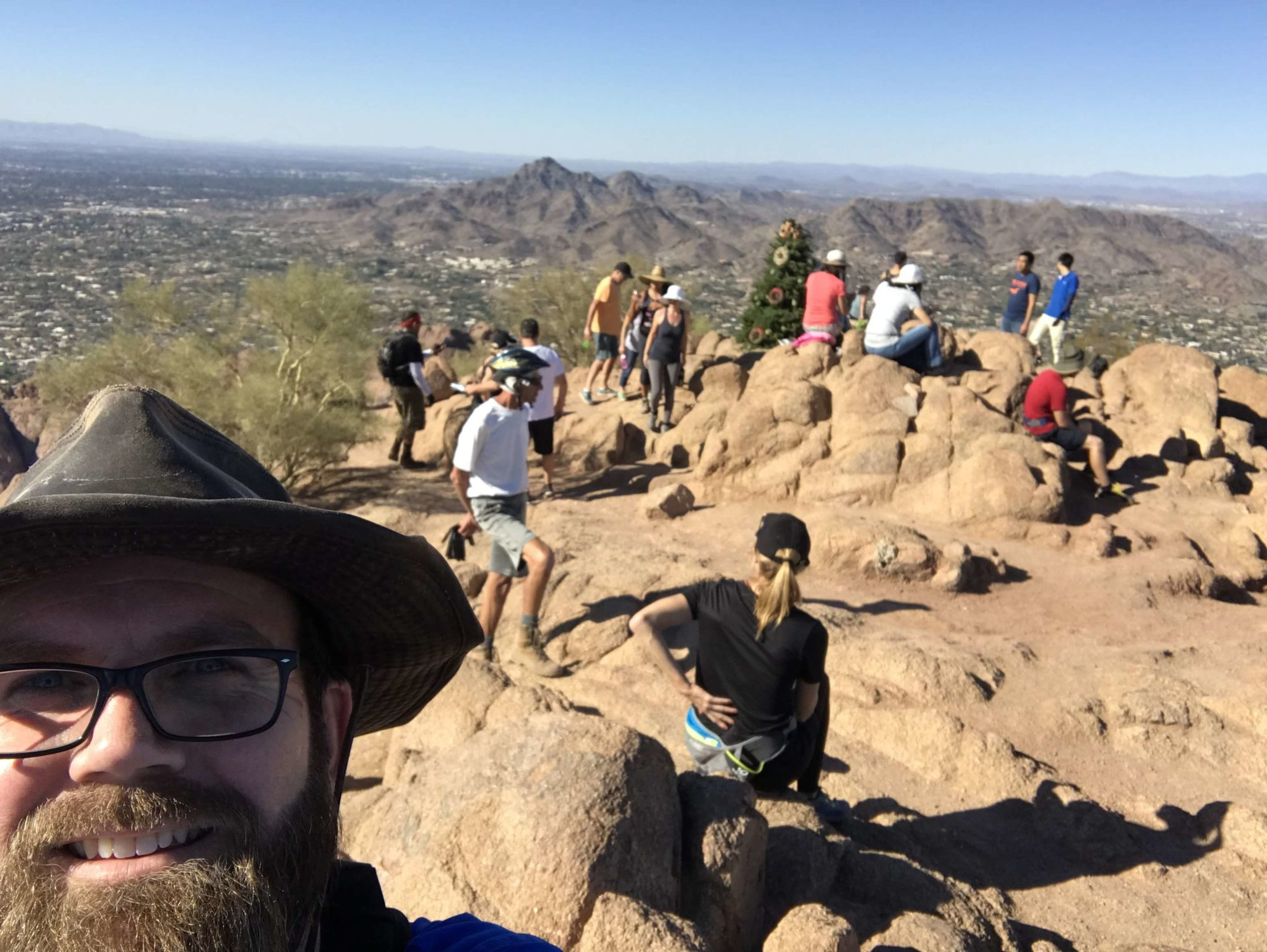 A selfie at the top of Camelback